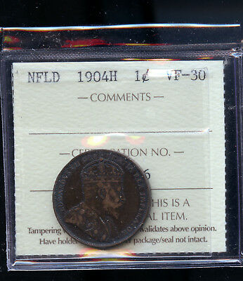 1904 H Newfoundland Large Cent ICCS Certified VF30 E437