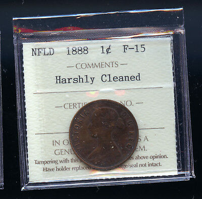 1888 Newfoundland Large Cent ICCS Certified F15 Harshly Cleaned  E438