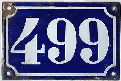 Old blue French house number 499 door gate plate plaque enamel metal sign c1900
