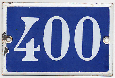 Old blue French house number 400 door gate plate plaque enamel steel metal sign