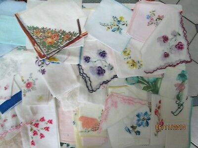 100 Vintage Handkerchief Hanky Crochedt Embroidery Lace Floral