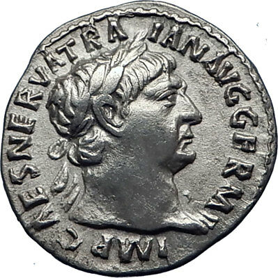 TRAJAN  101AD Rome Authentic Genuine Ancient Silver Roman Coin Hercules i70340