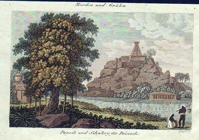1800 - India Pagode Temple Wira-Mally engraving Bertuch