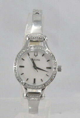 Ladies Bulova 96L128 Stainless Steel Bracelet Crystal Accented MOP Dial Watch
