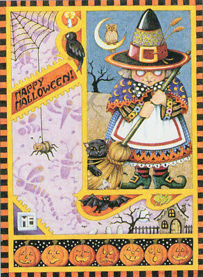 Happy Halloween Witch Collage-Handcrafted Fridge Magnet-w/Mary Engelbreit art