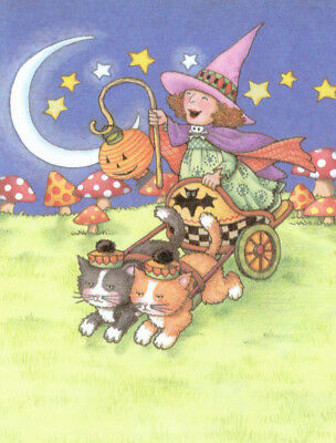 Witch Cat Chariot Mushrooms-Handcrafted Halloween Magnet-w/Mary Engelbreit art