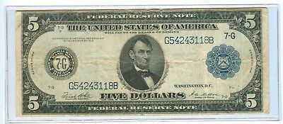 1914 Five Dollars Federal Reserve Chicago, Illinois Large Note - Cir