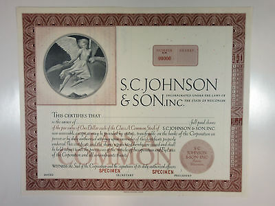 WI. S.C. Johnson & Son, Inc. 1960s Odd Shares Class A Stock Specimen Cert XF ABN