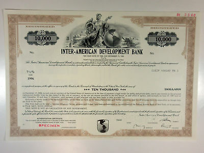 Inter-American Development Bank 1986 Specimen $10,000 Registered Bond XF ABN