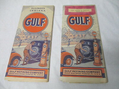 Two 1933 Gulf gasoline oil gas station road maps