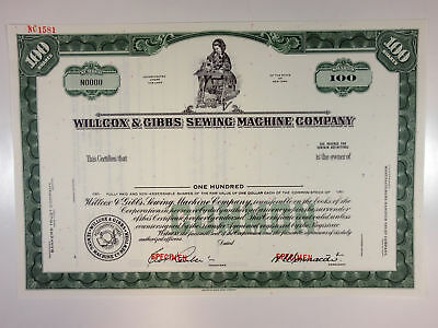 NY. Willcox & Gibbs Sewing Machine Co 1940-50s Specimen Stock Certif Shrs XF ABN