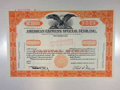 American Express Special Fund Inc 1967 Specimen Stock Certif Odd Shrs Orange