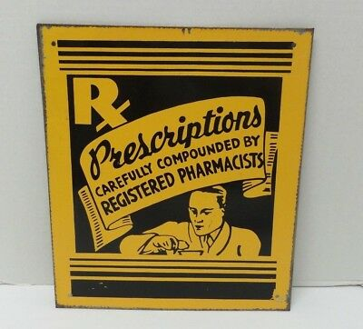 Vintage Tin Painted Sign RX Prescriptions Registered Pharmacists Pharmacy