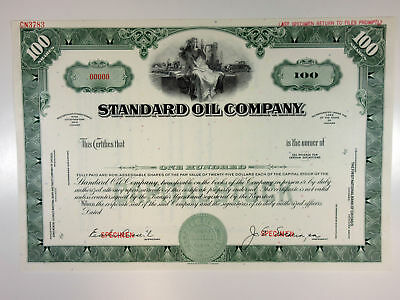 IN. Standard Oil Co 1940-50s Specimen 100 Shrs Stock Certificate XF ABN Green