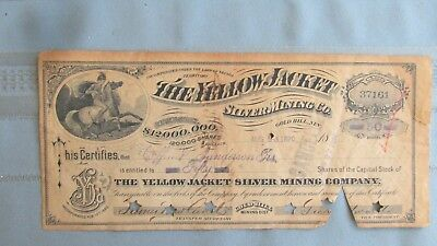1890 Gold Hill Nevada Yellow Jacket Silver Mining Company Stock-Issued-Cancelled
