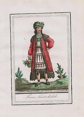 1780 - Kamchatka Peninsula Russia Siberia people costume engraving antique print