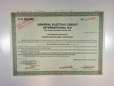 Curacao, N.A. General Electric Credit Int. NV 1982 $10,000 Specimen OL.Green