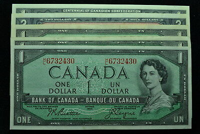 5 Notes 1954//1967  $1 & $2 Banknote of Canada Circulated F-UNC.