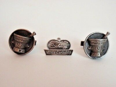 0fa2419dfa74 Vintage Pewter Cufflink Pharmacist RX Mortar Pestle Toggle Back HLP His  Lordship