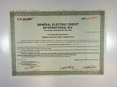 Curacao, N.A. General Electric Credit Int. NV 1982 $1000 Specimen OL.Green