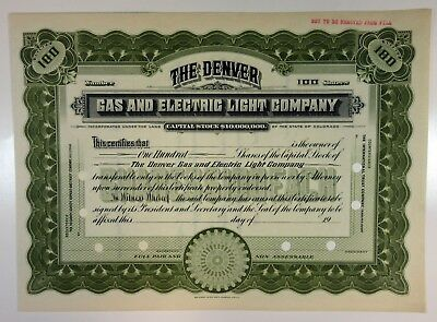 CO. Denver Gas and Electric Light Co. 1900-20 Specimen Stock Certificate XF SBN