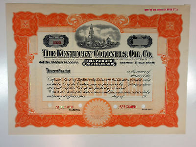 Kentucky Colonels Oil Co. 1910-20s Specimen Stock Certificate XF SBN