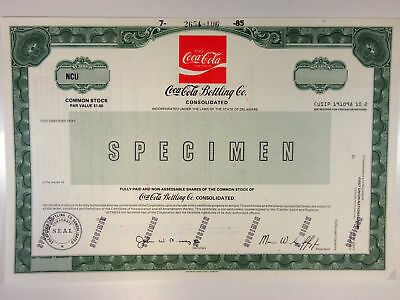 Coca-Cola Bottling Co. Consolidated 1985 Specimen Stock Certificate XF ABN