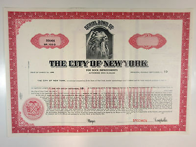 City of New York, 1966 Specimen Registered $-Odd Dock Improvement Bond XF ABN