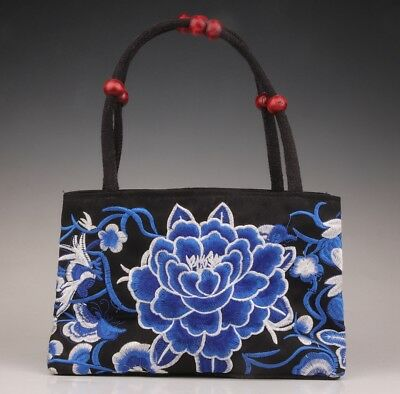 Silk satchel handbag two layers blue peony Chinese vintage collection