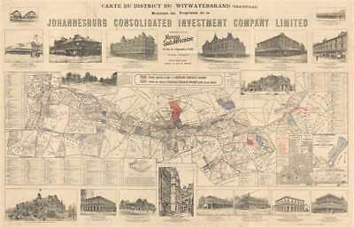 1902 French Investment Map of Johannesburg, South Africa