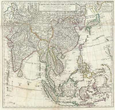 1705 Delisle Map of East Asia (India, China, East Indies, Korea, Japan)