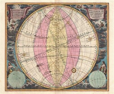 1708 Cellarius Celestial Map illustrating the Spheres