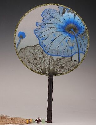 China's rare double-sided embroidery fan 100% hand-made blue lotus leaf colle