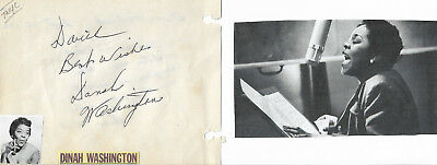 Dinah Washington -Rock&roll Hof-Vintage In Person Hand Signed Album Page With Pi