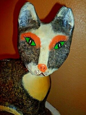 "15""vintage Paper Mache/pulp Tramp Art Hand Made Black Cat Painted Green Eyes"