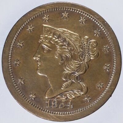 1854 Braided Hair Half Cent AU/UNC lightly cleaned