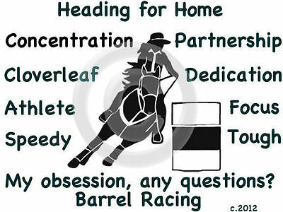 Barrel Racing Horse My Obsession, Any Questions? T-shirt Ladies small green SALE