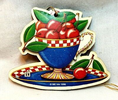 Mary Engelbreit Gift Tag Cup of Cherries Christmas Ornament 3D Layered MINT