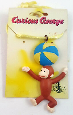 Curious George  balancing beachball on head c1997 jewelry necklace
