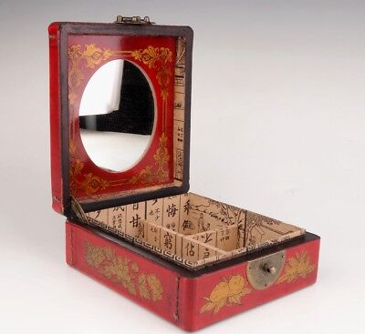 Red leather jewelry box dragon phoenix mirror interlayer dowry large size