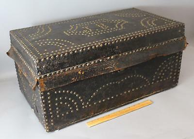 Small Antique Mid-19thC Brass Stud Leather Travel Trunk Chest