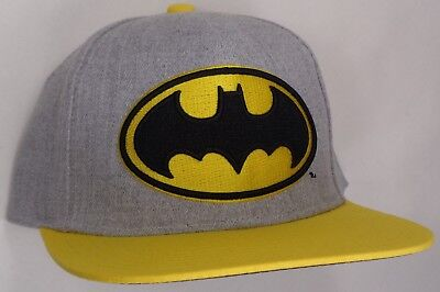 details for release info on preview of HAT CAP LICENSED DC Comics Batman Logo Heathered Yellow Flat Bill ...