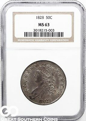 1828 NGC Capped Bust Half Dollar NGC MS 63 ** Tough This Nice, Free Shipping!
