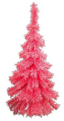 3FT Pink Hanging Wall Christmas Tree Classic Pink Tinsel Tree Lays Flat - 36''