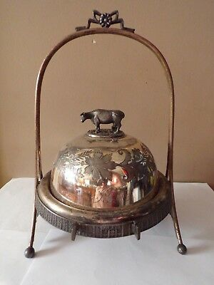Antique Meriden Company Silver Plate Cow Covered Cheese Butter Dish Lqqk