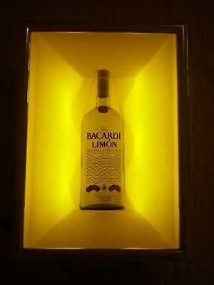 Ron Bacardi Limon Flavored Rum Empty Bottle Lighted Bar Advertising Sign