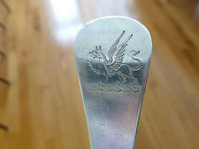 """1787 Solomon Houghman Sterling Silver Dressing Spoon 8.25"""" GRIFFIN CREST"""