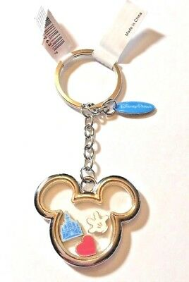 Disney Parks Mickey Mouse Icon Floating Glove Heart Castle Keychain