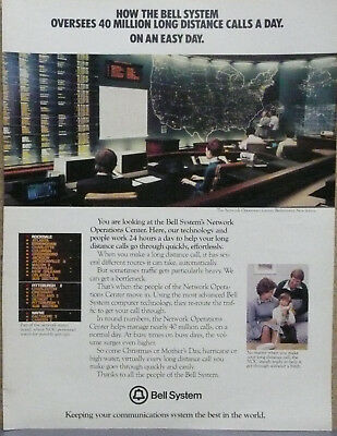 AT&T Bell Ad 1979 Operations Center Bedminster,NJ Print Ad Long Lines