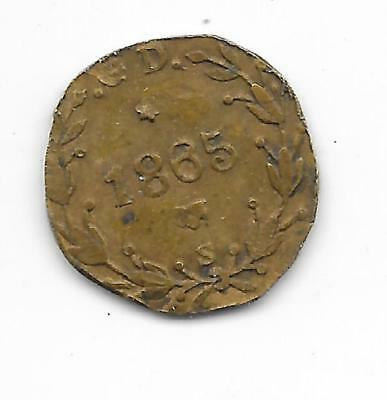 US Civil War Era Store Card Token 1865-S Copper Bronze Irish Harp Clipped